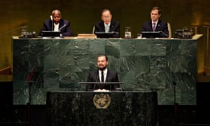 Leonardo DiCaprio, Ban Ki-moon at UN heaquarters during NYC climate week
