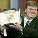 Michael Moore with his Palme d'Or