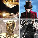 Clockwise from top left: Batman Begins; Charlie and the Chocolate Factory; Sin City; Star Wars III - Revenge of the Sith