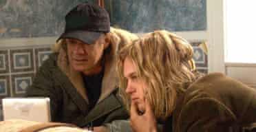 Gus Van Sant with Michael Pitt on the set of Last Days