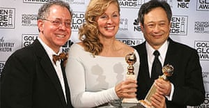 Brokeback Mountain's producer James Schamus, scriptwriter Diana Ossana, and director Ang Lee with two of their four Golden Globes