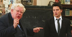 Richard Griffiths and Dominic Cooper filming The History Boys