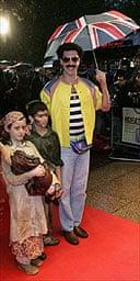 Borat arrives for his London premiere