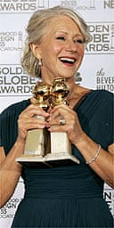 Helen Mirren with her two Golden Globe awards