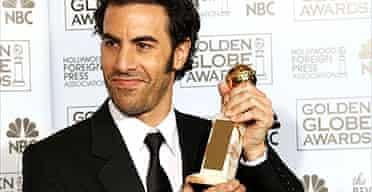 Sacha Baron Cohen with his Golden Globe