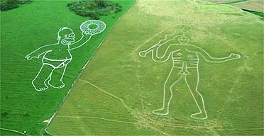 An image of Homer Simpson next to the famous Cerne Abbas giant