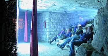 An illegal underground cinema in Paris, 2004