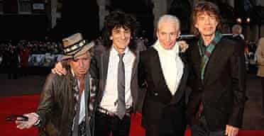The Rolling Stones (L-R) Keith Richards, Ronnie Wood, Charlie Watts and Mick Jagger arrive at the UK premiere of Shine a Light