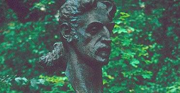 Bronze bust of Frank Zappa's head in Vilnius, Lithuania