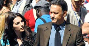 Ayelet Zurer and Tom Hanks filming Angels and Demons in Rome