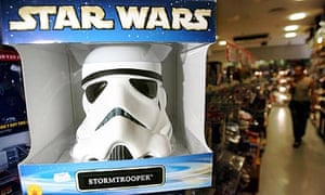 Official Star Wars replica stormtrooper helmet on sale in a memorabilia store