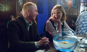 Simon Pegg and Kirsten Dunst on the set of How to Lose Friends and Alienate People