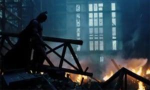 Christian Bale as Batman in a still from Christopher Nolan's second Batman film, The Dark Knight