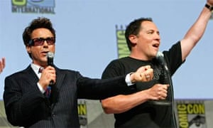 Robert Downey Jr and Jon Favreau talk to fans at Comic-Con