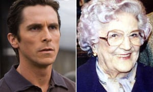 Christian Bale in Batman and Jill Summers as Phyllis Pearce in Coronation Street