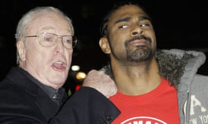 Michael Caine and boxer David Haye at the European premiere of Harry Brown in London