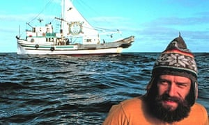 Greenpeace co-founder Bob Hunter in front of the Phyllis Cormack