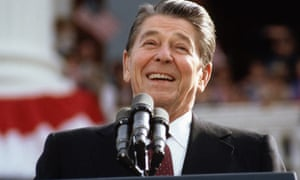 Ronald Reagan giving campaign speech in 1984