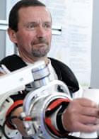 A stroke patient using an arm robot
