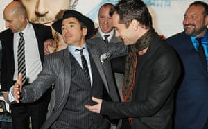Sherlock Holmes: Robert Downey Jr and Jude Law with cast and crew of Sherlock Holmes
