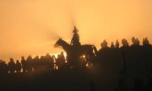 History enthusiasts perform a re-enactment of Napoleon's Battle of Austerlitz