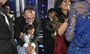 Danny Boyle with Rubina Ali, one of the child stars of Slumdog Millionaire, with the best film Oscar
