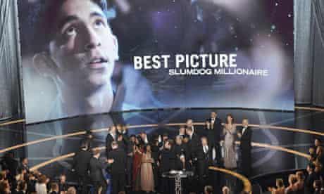 Cast and crew of Slumdog Millionaire celebrate their best film Oscar at the 2009 Academy Awards