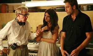 Woody Allen with Penelope Cruz and Javier Bardem on the set of Vicky Cristina Barcelona