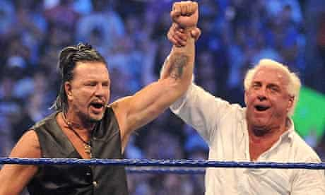 Mickey Rourke after knocking out Chris Jericho at WrestleMania 25 in Houston, 2009