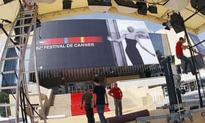 Workers prepare the Palais des Festivals for the start of the 2009 Cannes film festival