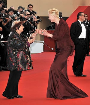 Cannes 2009: Up premiere: Director Agnes Varda and actor Tilda Swinton at the Cannes film festival