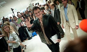 Quentin Tarantino after the press conference for Inglourious Basterds at 2009 Cannes film festival