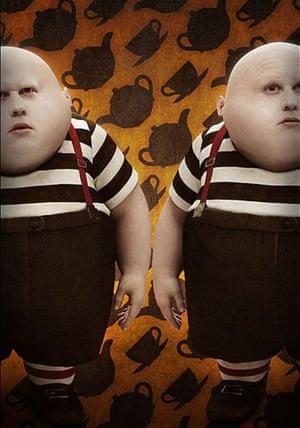 Matt Lucas as Tweedledum and Tweedledee in Alice in Wonderland