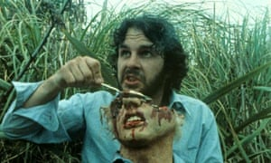 Peter Jackson on the set of his 1987 film Bad Taste