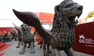 Lion statues at the 66th Venice film festival