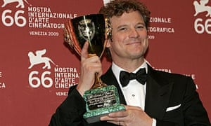 Colin Firth with his best actor award at the Venice film festival 2009