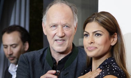 Director Werner Herzog with his Bad Lieutenant stars Nicolas Cage and Eva Mendes