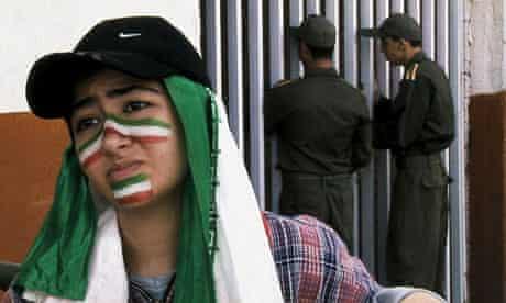 Offside trapped ... Golnaz Farmani in Jafar Panahi's 2006 film about two Iranian female football fan