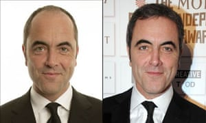 Mopping up? ... James Nesbitt before and after his hair transplant.