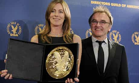 Kathryn Bigelow with her Directors Guild of America award, presented by Danny Boyle