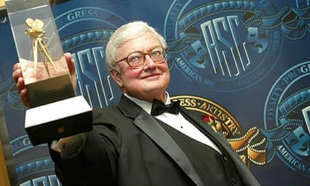 Roger Ebert with an award from the American Society of Cinematographers