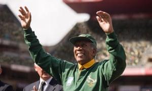 Moment of triumph ... Morgan Freeman as Mandela