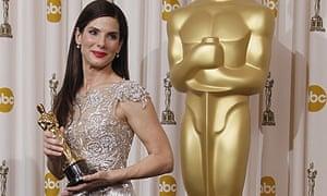 Sandra Bullock with her best actress Academy Award at the 2010 Oscars
