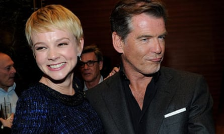 Carey Mulligan and Pierce Brosnan chat at the after party for the premiere of The Greatest
