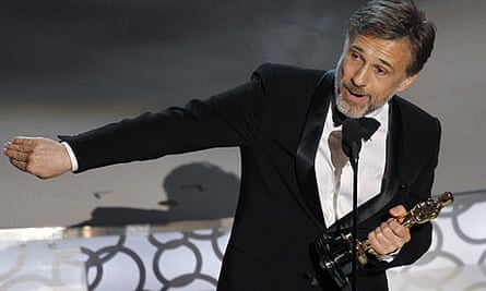 Christoph Waltz accepts the award for best supporting actor during the 82nd Academy Awards