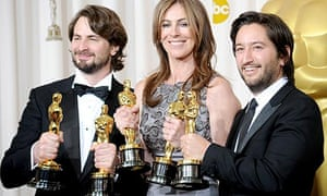 Mark Boal, Kathryn Bigelow and Greg Shapiro with the best picture Oscars