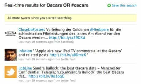 Oscars coverage on Twitter