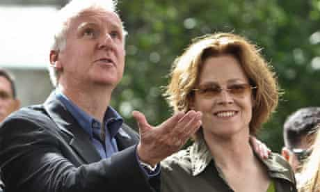 James Cameron and Sigourney Weaver during a tree planting ceremony in Sao Paulo, Brazil