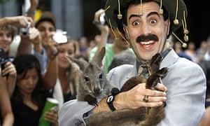 Sacha Baron Cohen with wallaby at Australian premiere of Borat