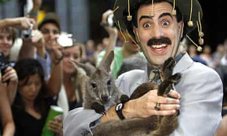 Sacha Baron Cohen with wallaby at Australian premiere of Borat